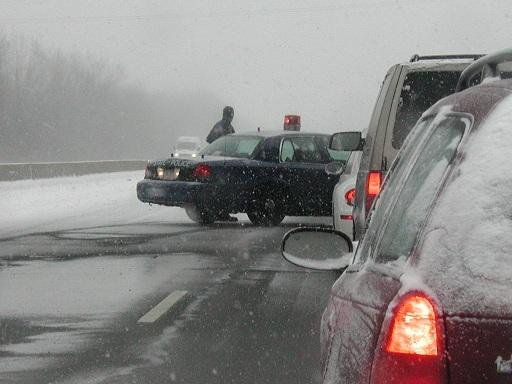 An accident scene on I-94