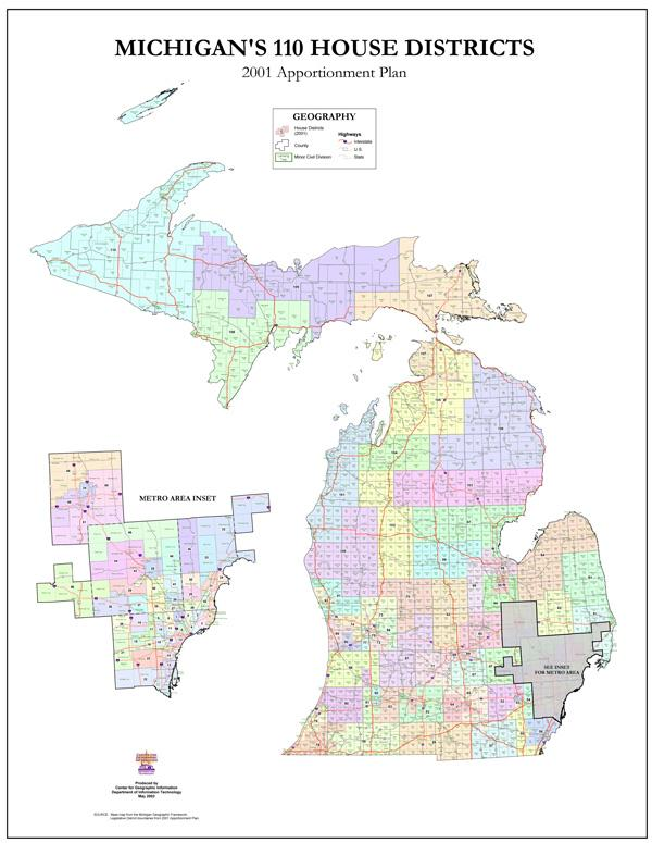 Michigan's 110 House Districts. Plans are underway to redraw the district lines after the results of the 2010 Census.