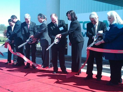Governor Rick Snyder (third from the left) joins local elected officials and Japanese business executives in cutting the ceremonial ribbon dedicating the new Toda America facility in Battle Creek