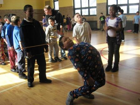 "Lots of kids seem to like the limbo. By the way, it was ""pajama day"" at Bennett Elementary the day these photos were taken."