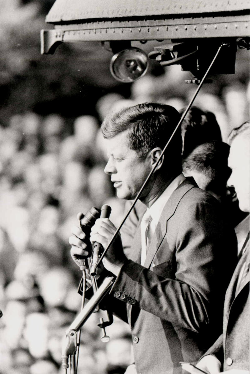Senator Kennedy left the Ann Arbor train station on October 14th, 1960 to make a nine-city whistle-stop campaign sweep through Michigan.