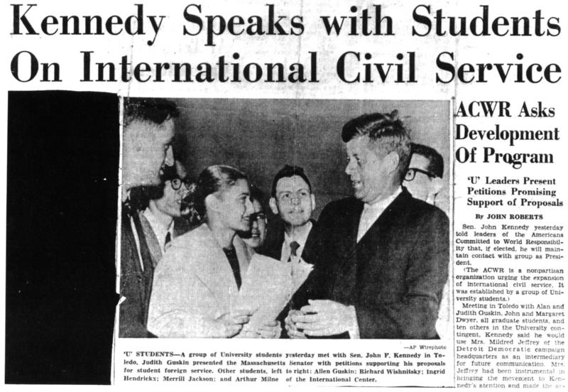 A Michigan Daily article about the presentation of international service petitions to Senator Kennedy at the Toledo airport.