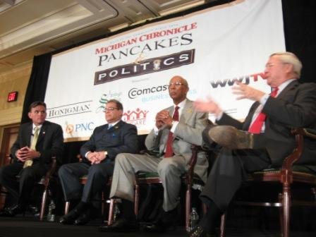 From left: Macomb Co. Executive Mark Hackel, Wayne Co. Executive Bob Ficano, Detroit Mayor Dave Bing, and Oakland Co. Executive L. Brooks Patterson