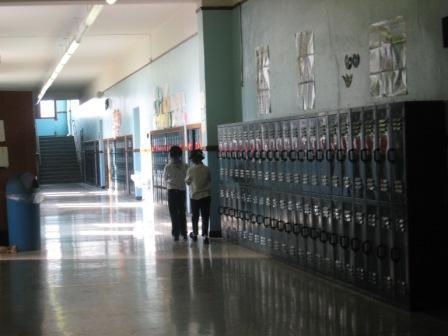 lockers lining a school hallway
