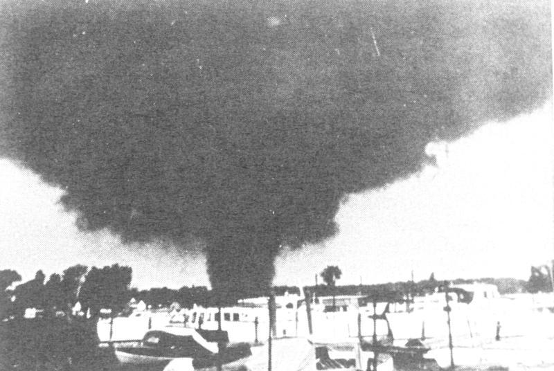An F4 intensity tornado moves through Erie, Michigan on June 8, 1953. That same day there were eight tornadoes in Michigan, including Michigan's deadliest - the F5 Beecher tornado killed 116 people as it touched down north of Flint.