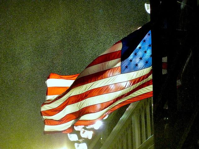 The flag at Yankee Stadium. Many American's took solace in baseball at the attacks of September, 11th, 2001.