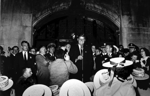 Then Senator John F. Kennedy on the steps of the Michigan Union. In a short speech, he challenged students to serve in other countries.