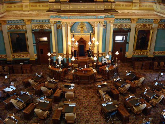 The Michigan Senate chamber.