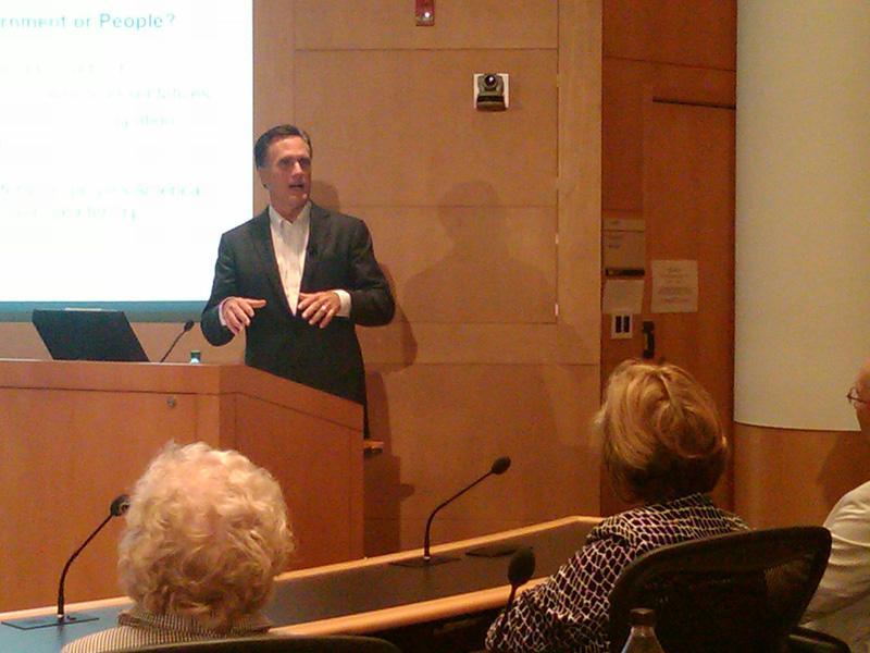 Presidential hopeful Mitt Romney speaking at the University of Michigan.