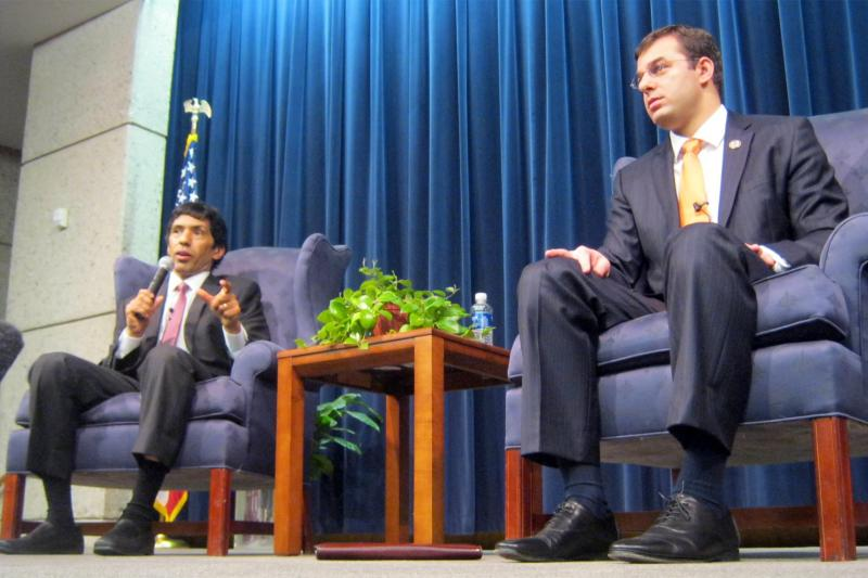Congressmen Justin Amash (right) and Hansen Clarke (left) host a town hall meeting at the Gerald R. Ford Mueseum in Grand Rapids Saturday.