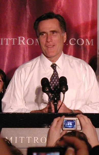Mitt Romney celebrating his victory in Michigan's Republican presidential primary in 2008.