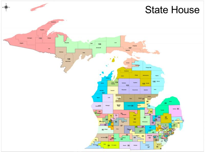 The proposed Michigan House districts (close ups of districts in SW and SE Michigan follow).