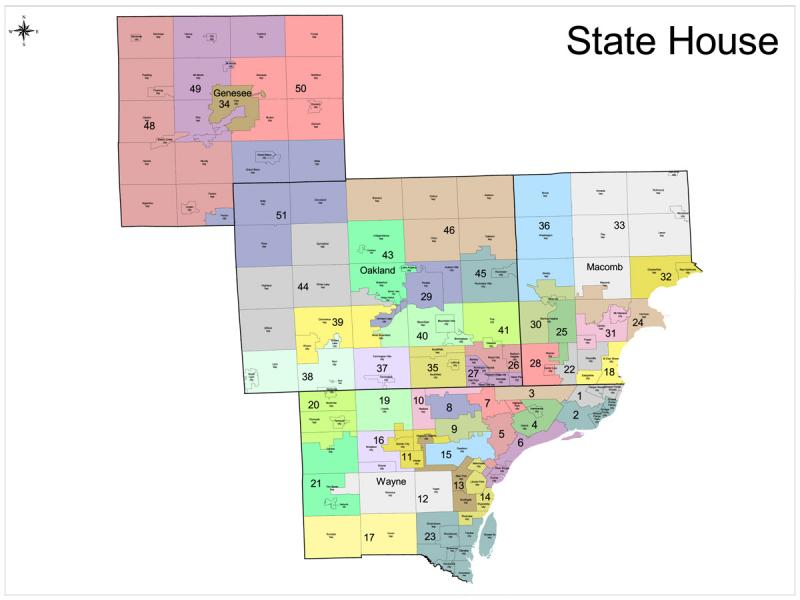 The proposed Michigan House districts in Wayne, Macomb, Oakland, and Genesee counties.