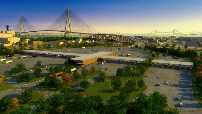 A concept drawing of a new bridge known as the Detroit River International Crossing.