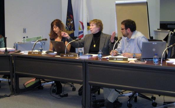 When the board disussed the policy in January, some members suggested they needed to screen members of the public. Maureen Slade (middle) gestured at security guards at the meeting, 'I don't think we have anything to fear from our public.'
