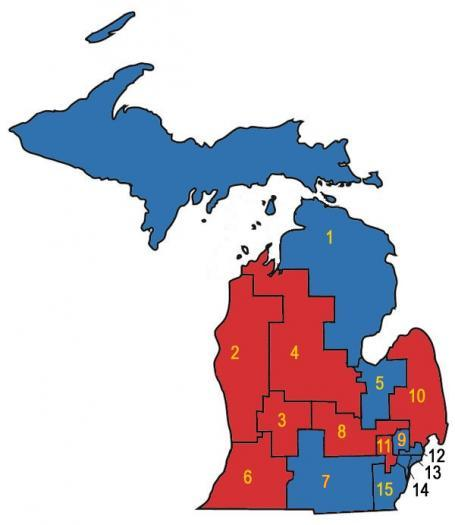 The 15 Michigan U.S. House districts as they exist today.