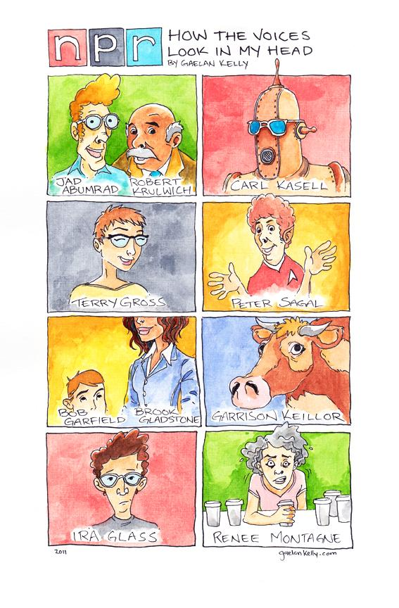 Art by Gaelan Kelly imagining the faces behind NPR's voices.