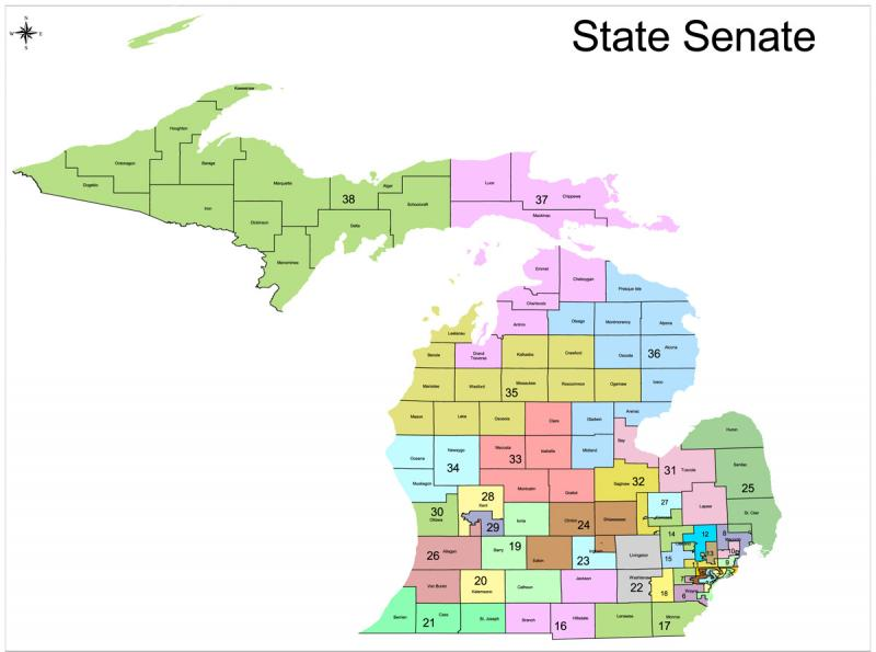 The proposed Michigan Senate districts (close up of districts in SE Michigan follows).