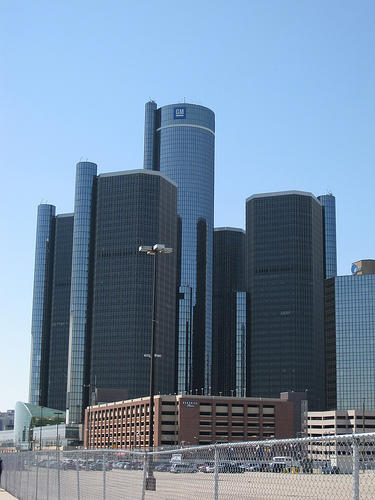 The GM Headquarters at the Renaissance Center in Detroit
