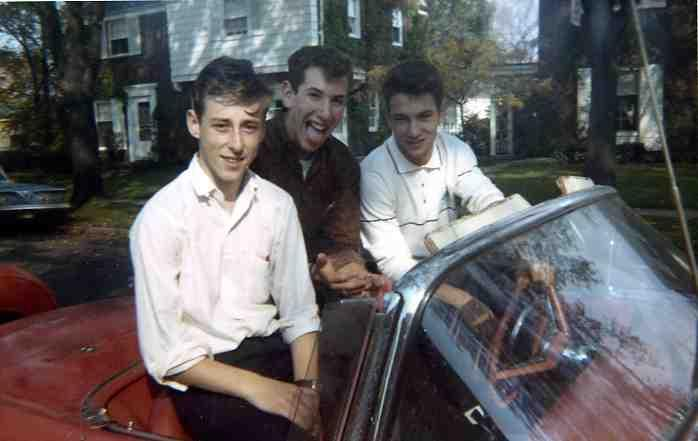 Stephen Fisher (right) on Hartwell in Detroit in 1962. He's messing around in his cousin's 1957 Thunderbird with friends from Mumford High School.