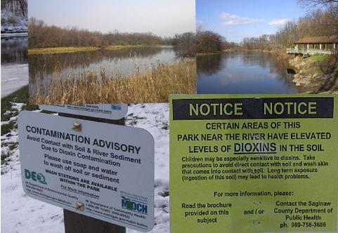 Advisories warn people of dioxin contamination in the Tittabawassee river. Dow is responsible for releasing dioxin into the river.