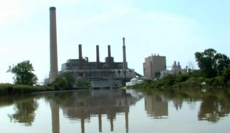 """The Bay Shore Power Plant on Maumee Bay in Lake Erie. Lake Erie Waterkeeper Sandy Binh says this power plant is """"probably the largest fish-killing plant in the Great Lakes."""""""