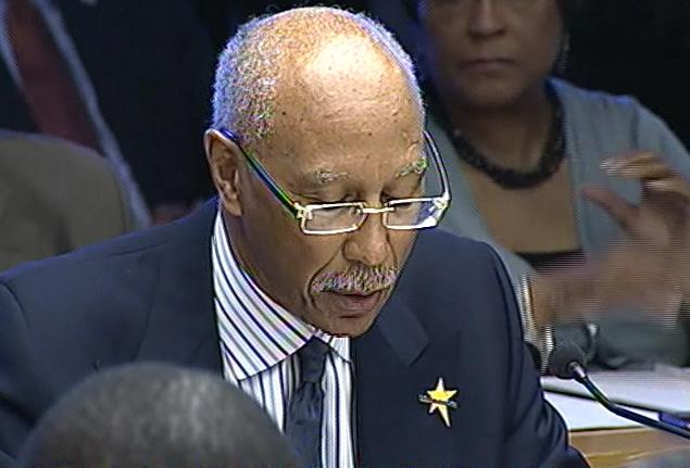 Detroit Mayor Dave Bing delivering his budget address last April.