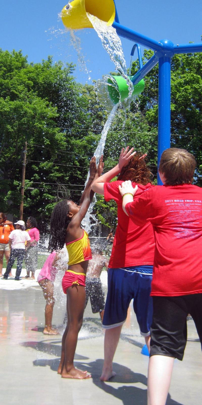 Water from the splash park will be re-used in the park's landscape irrigation system.