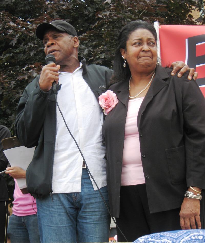 Danny Glover attended the rally in support of Catherine Ferguson Academy along with its principal, Asenath Andrews.