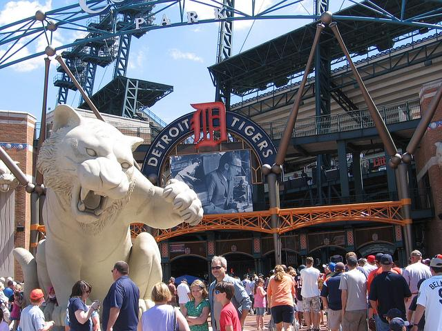Outside Comerica Park in Detroit. How much do you spend when you go to the ballpark?