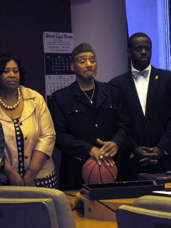 "Some council members say Mayor Bing, a former NBA star, is not ""playing ball"" the way he needs to in budget negotiations with the city council. Councilman Kwame Kenyatta, center, brought a basketball to the press conference."