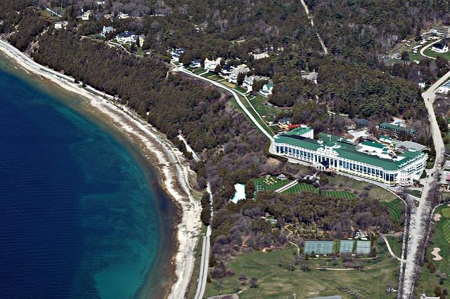 State leaders and legislators have left Lansing for Mackinac Island this week. Some protesters have followed them.