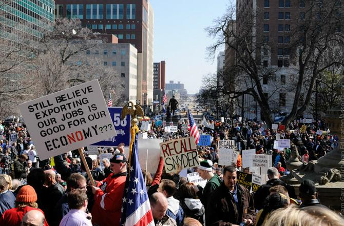 A rally in Lansing on March 16, 2011. Recall efforts are underway for several Republican leaders. The last time the state saw this many recall efforts was in 1983 targeting Democrats.