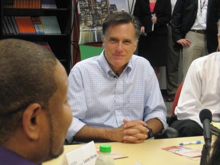 GOP presidential hopeful Mitt Romney chats with entrepreneurs at Bizdom U during a campaign stop in Detroit.