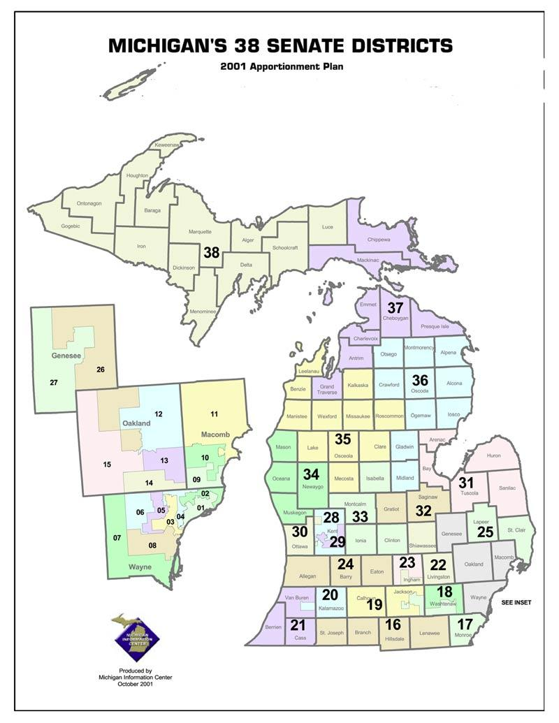 The Michigan Senate districts as they exist today.
