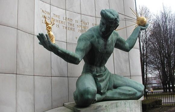 The Spirit of Detroit sculpture outside the Coleman A. Young Municipal Center.