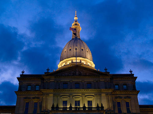 The Michigan state capitol building