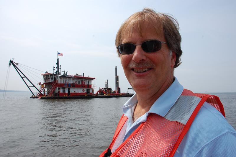 Engineer Tom O'Bryan says dredges like this one are basically big vacuums, chewing up sand.