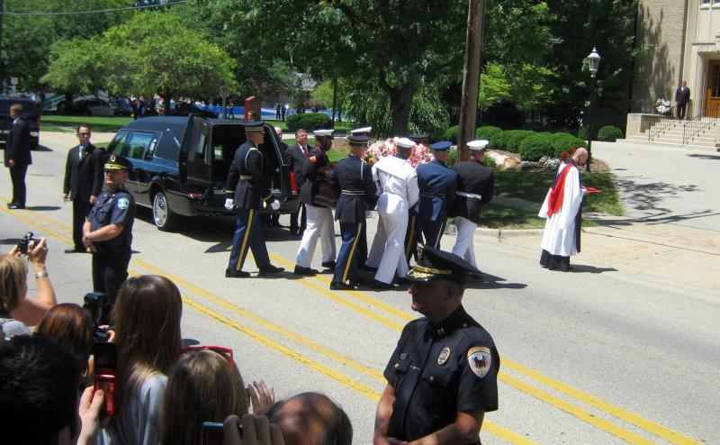 Betty Ford's casket is taken into Grace Episcopal Church Thursday afternoon.