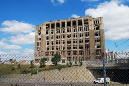 The old Cass Tech High School before it was torn down. This area, known as the Cass Corridor, is where the apartment buildings are located.