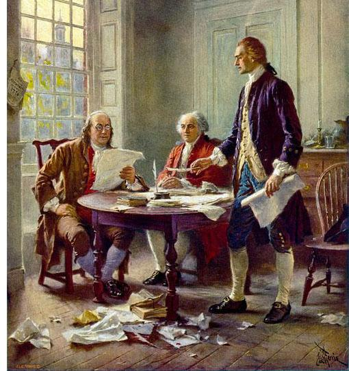 Benjamin Franklin (left), John Adams (center) and Thomas Jefferson (right),  meet to review a draft of the Declaration of Independence in 1776.