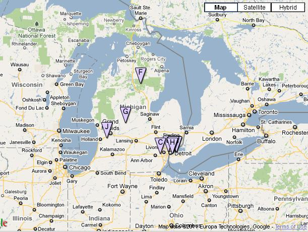 The location of electric charging stations online now in Michigan.