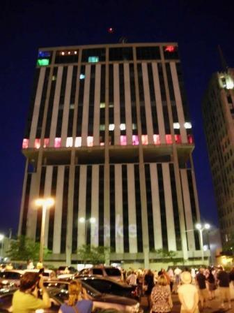 The Genesse Towers were lit up for one night only as part of The Flint Public Art Project