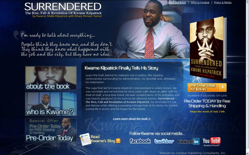 """From the website kwamekilpatrickbook.com. Kilpatrick says he's ready to """"talk about everything."""""""