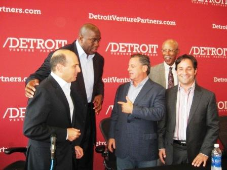 "From left, Brian Hermelin, Earvin ""Magic"" Johnson, Detroit Mayor Dave Bing, and Josh Linker. All but Bing are partners in Detroit Venture Partners."