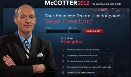Republican Congressman Thaddeus McCotter wants to run for President in 2012.