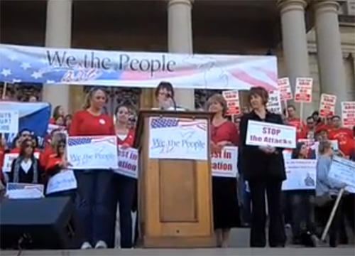 A rally held by the Michigan Education Association, the state's largest teachers union, in Lansing last May. The MEA is putting its support behind some recall efforts.