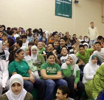Students at McCollough-Unis School in Dearborn