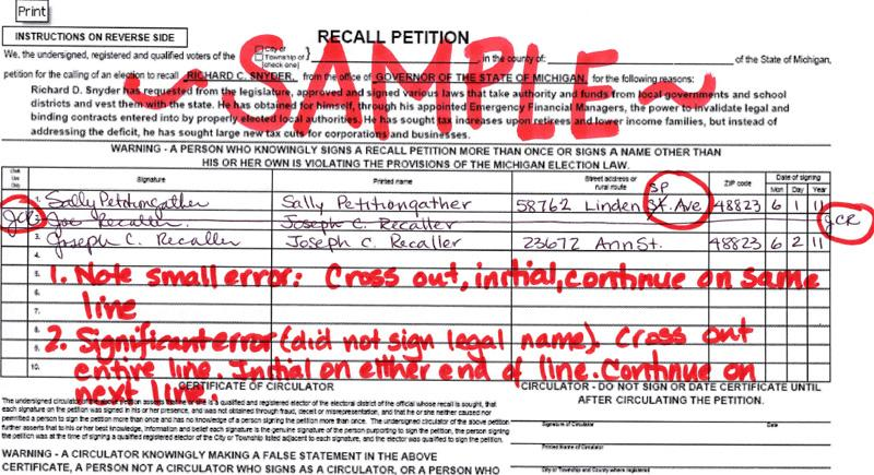 a sample petition from the committee to recall rick snyder