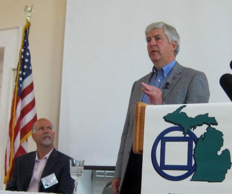 Governor Rick Snyder spoke to the Michigan Municipal League at The Heritage Museum and Cultural Center in St. Joseph Thursday morning.